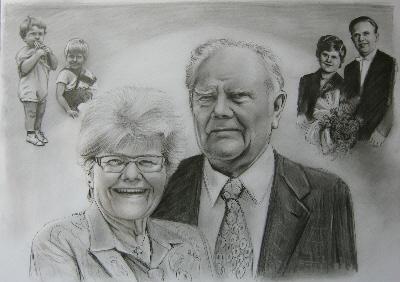 Hochzeit Und Heute Zeichnung Als Geschenk Für Goldene